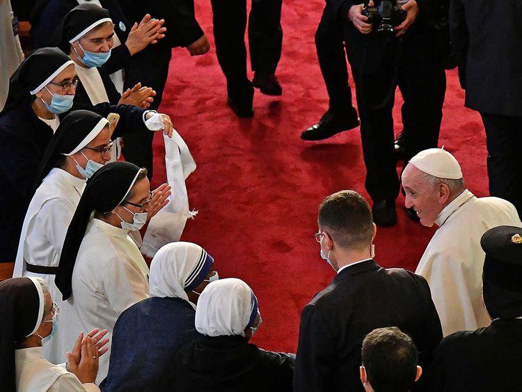 Nuns welcome Pope Francis Iraq church