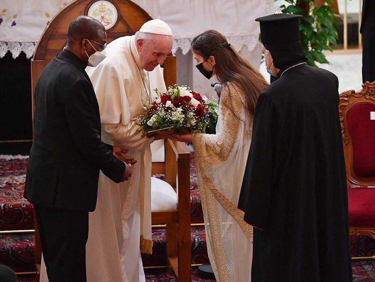 Pope Francis Iraq woman church