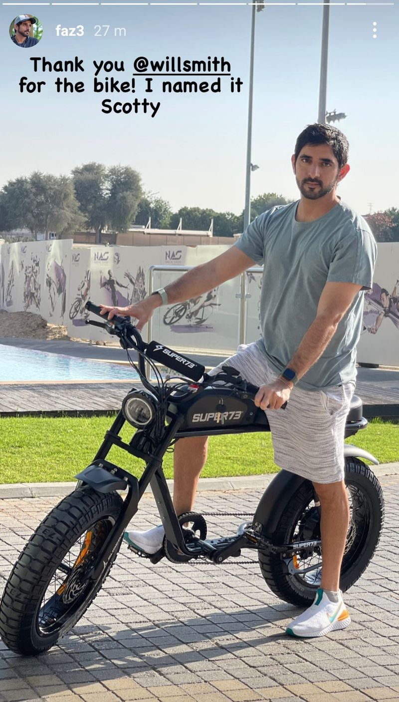 Sheikh Hamdan Bin Mohammed Bin Rashid Al Maktoum, Crown Prince of Dubai, with a motorcycle  from Will Smith