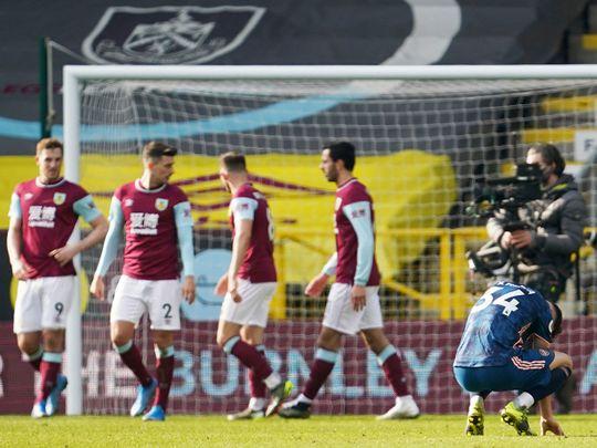 Burnley celebrate the leveller against Arsenal