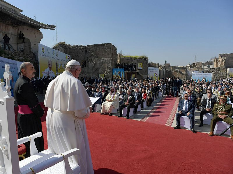 Pope Francis attends a prayer for war victims at 'Hosh al-Bieaa', Church Square, in Mosul's Old City, Iraq,