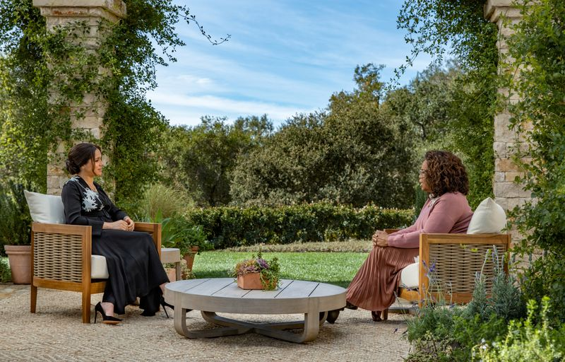 FILE PHOTO: Meghan, Duchess of Sussex, gives an interview to Oprah Winfrey in this undated handout photo.  Harpo Productions/Joe Pugliese/Handout via REUTERS/File Photo