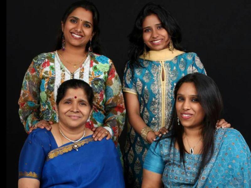 Girija Revi with daughters
