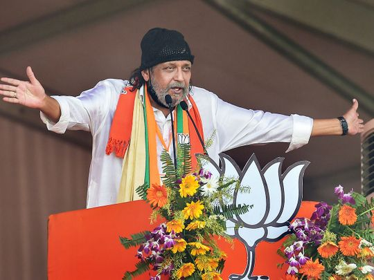 Kolkata: Bollywood actor Mithun Chakraborty addresses a public meeting after he joined BJP ahead of West Bengal Assembly Polls, at Brigade Parade Ground in Kolkata, Sunday, March 7, 2021.