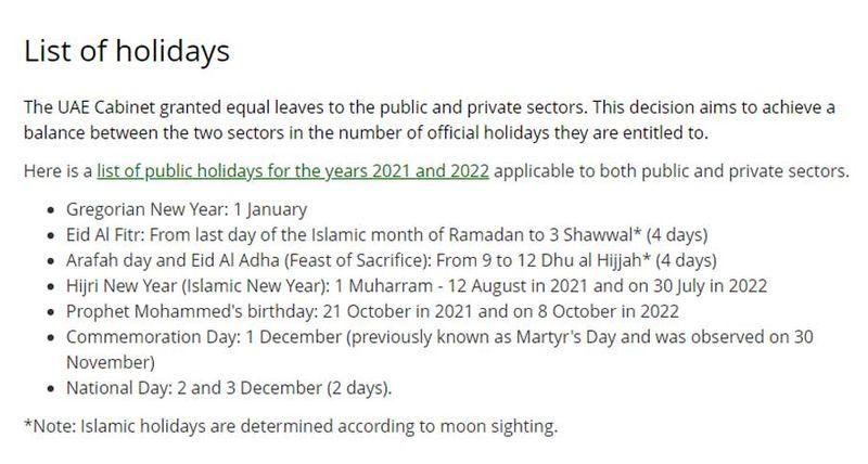 UAE list of holidays