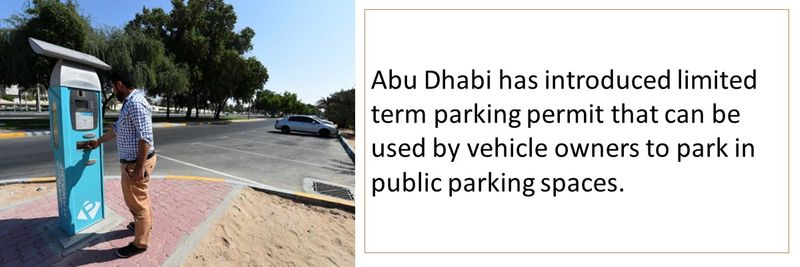 Abu Dhabi has introduced limited term parking permit that can be used by vehicle owners to park in public parking spaces.