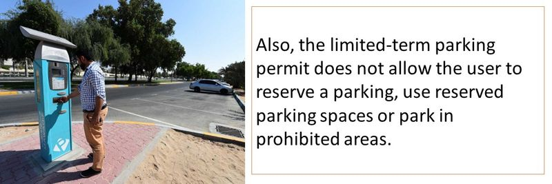 Also, the limited-term parking permit does not allow the user to reserve a parking, use reserved parking spaces or park in prohibited areas.