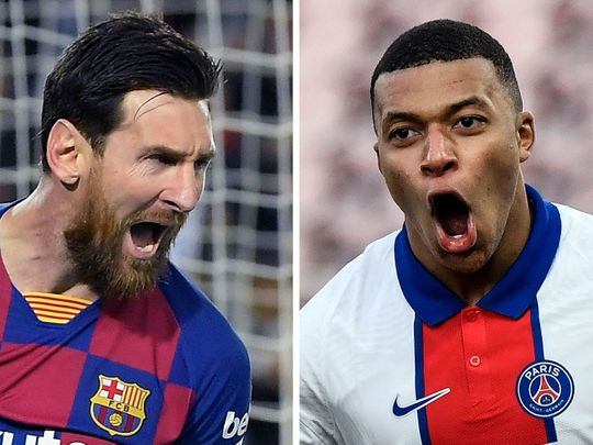 Barcelona's Lionel Messi will look to overhaul Kylian Mbappe and PSG