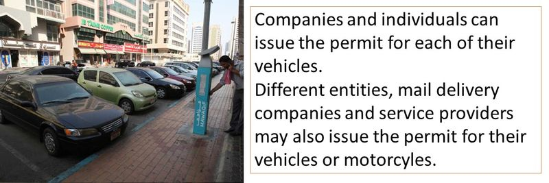 Companies and individuals can issue the permit for each of their vehicles. Different entities, mail delivery companies and service providers may also issue the permit for their vehicles or motorcyles.