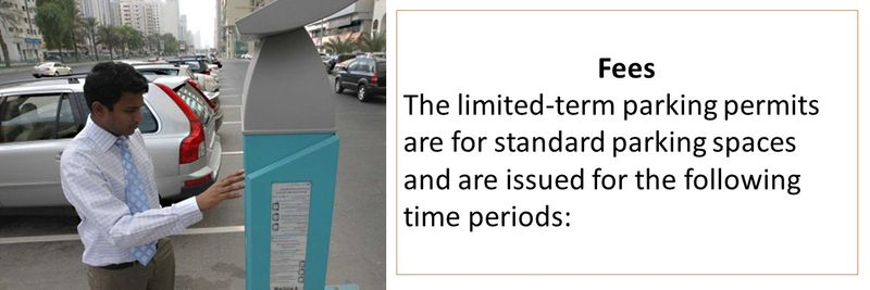 Fees The limited-term parking permits are for standard parking spaces and are issued for the following time periods: