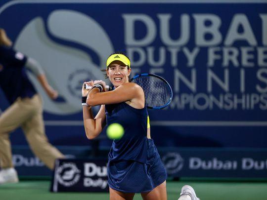 Garbine Muguruza in action in Dubai