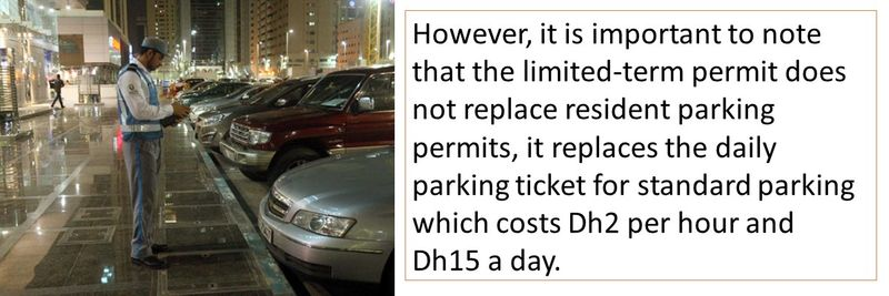 However, it is important to note that the limited-term permit does not replace resident parking permits, it replaces the daily parking ticket for standard parking which costs Dh2 per hour and Dh15 a day.