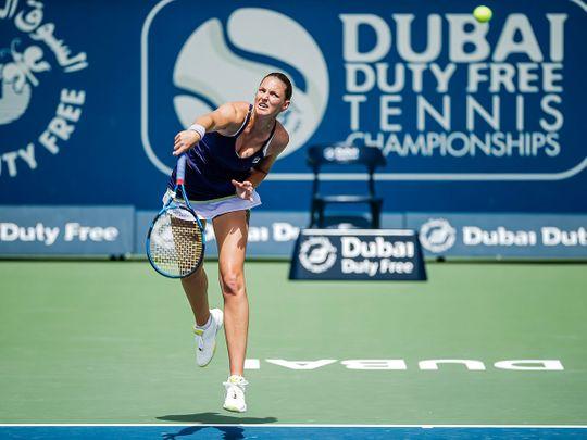Karolina Pliskova in action in Dubai