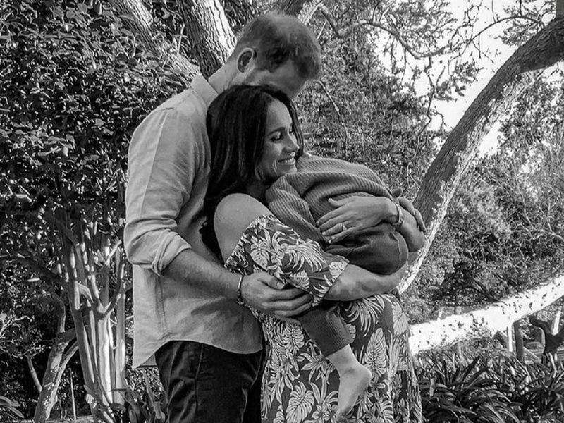 Prince Harry and Meghan, The Duke and Duchess of Sussex, pose with their son Archie in this undated handout photo.