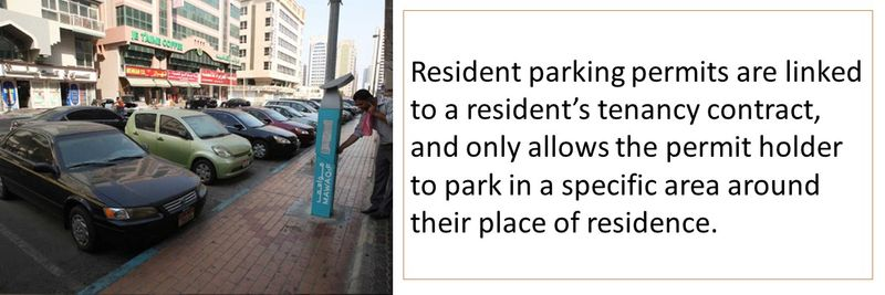 Resident parking permits are linked to a resident's tenancy contract, and only allows the permit holder to park in a specific area around their place of residence.
