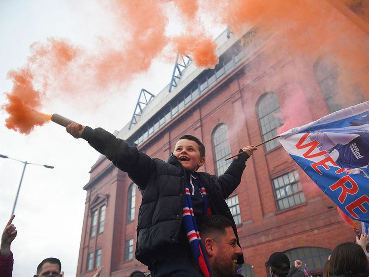 Fans of all ages took to the streets to celebrate after the Rangers' victory.