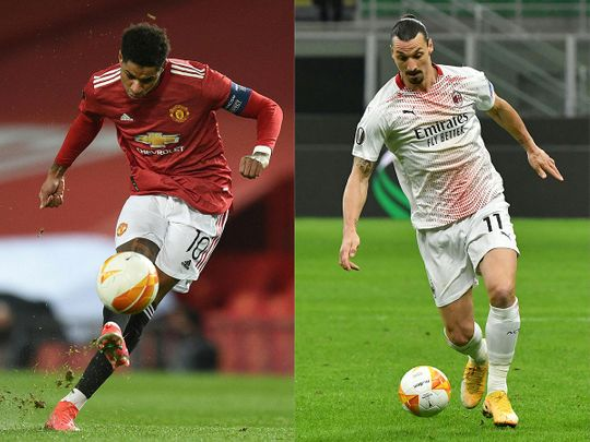 Manchester United's Marcus Rashford will be up against AC Milan's Zlatan Ibrahimovic in the Europa League