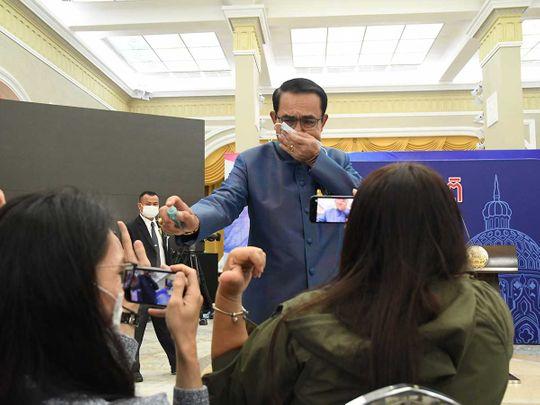 Thailand's Prime Minister Prayuth Chan-ocha disinfectant
