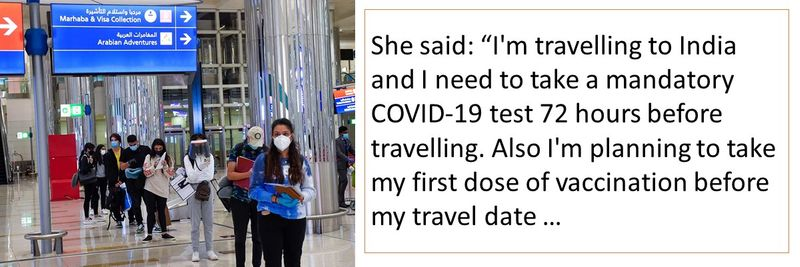 """She said: """"I'm travelling to India and I need to take a mandatory COVID-19 test 72 hours before travelling. Also I'm planning to take my first dose of vaccination before my travel date …"""
