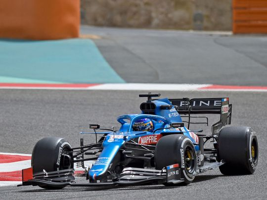 Fernando Alonso is testing with Alpine in Bahrain