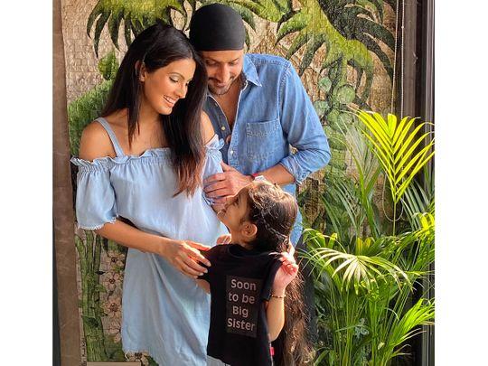 Harbhajan Singh with with Geeta Basra and daughter Hinaya Heer Plaha announce the good news