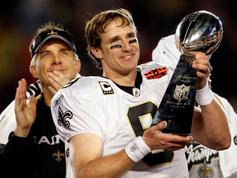Drew Brees helped the New Orleans Saints to a Super Bowl title