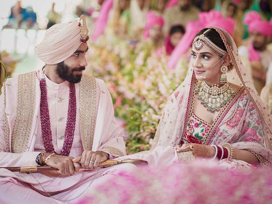 Jasprit Bumrah and Sanjana Ganesan on their wedding day
