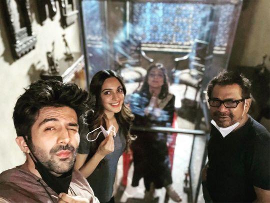 Kartik Aaryan, Kiara Advani, director Anees Bazmee and Tabu.