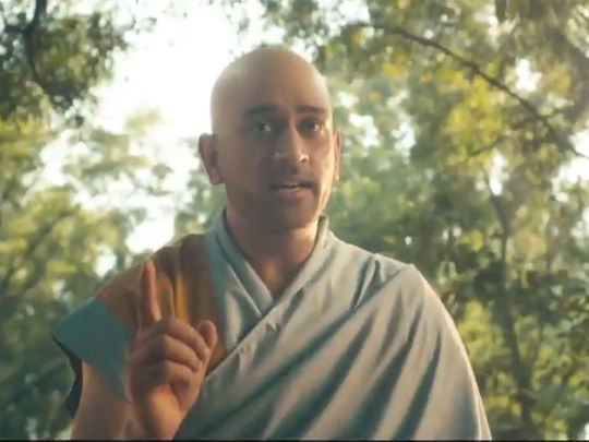 MS Dhoni poses as a monk in the IPL advert