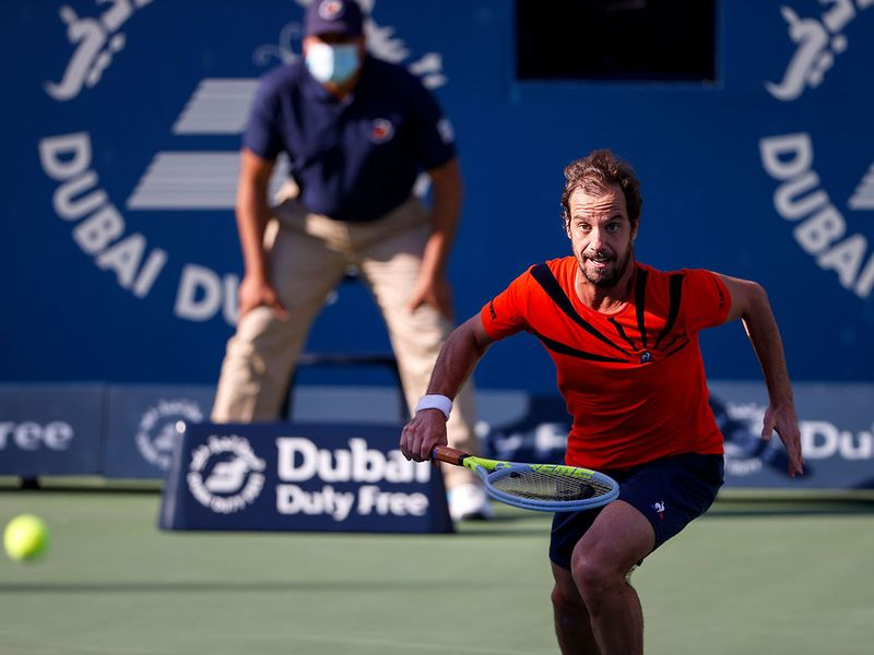 Richard Gasquet in action in Dubai