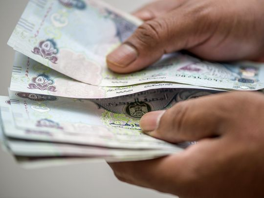 Stock Dirhams ATM cash currency