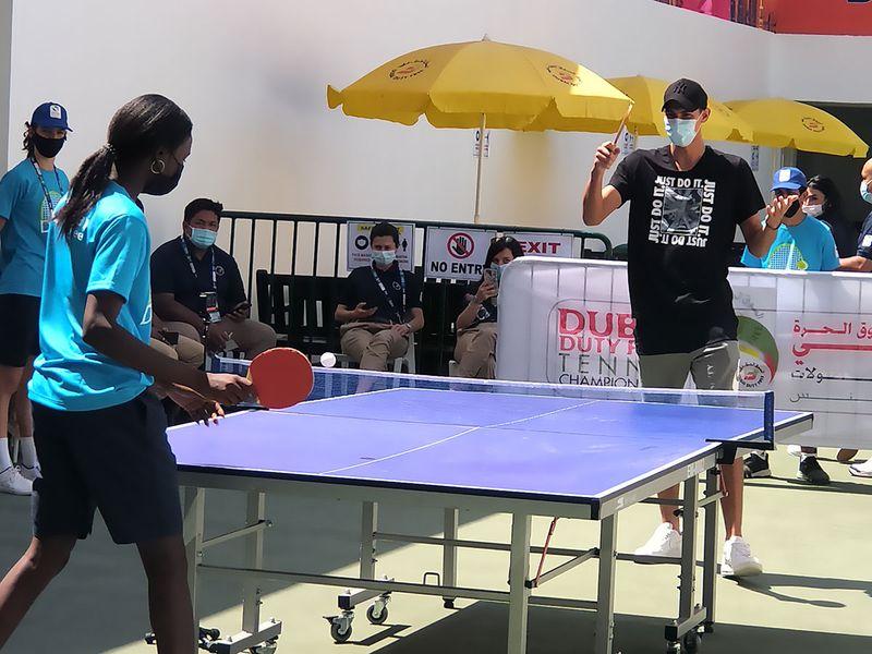 Alexei Popyrin takes time out at the Dubai Duty Free Tennis Championships