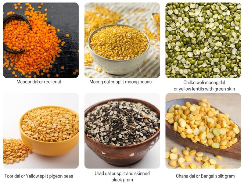 Six type of lentils and their Indian names