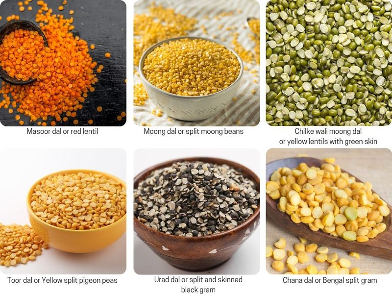 Six types of lentils and their Indian names