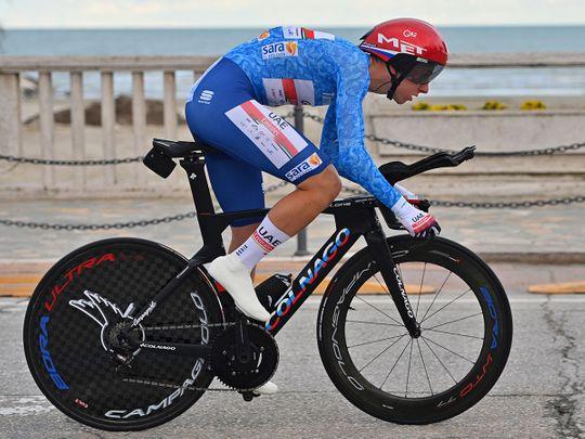 Tadej Pogacar on his way to victory in the Tirreno-Adriatico cycling race