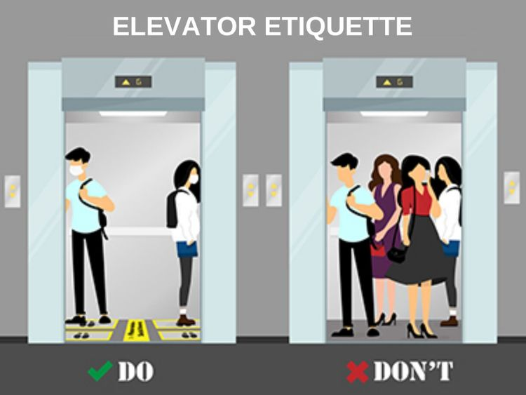 Going up? Social-distancing stickers help elevator passengers at an IKEA store in Berlin.