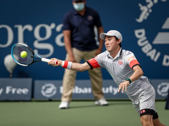 Kei Nishikori in action in Dubai