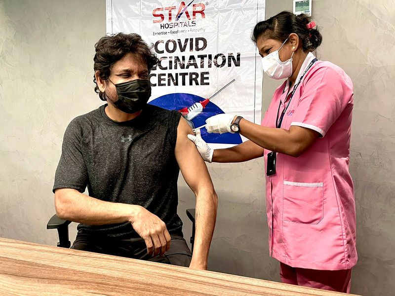 South Indian actor Nagarjuna gets the COVID-19 vaccine