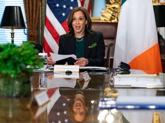 Vice President Kamala Harris talks to Irish Prime Minister Micheál Martin, during a virtual bilateral meeting in the Vice President's Ceremonial Office at the Eisenhower Executive Office Building on the White House complex in Washington, Wednesday, March 17, 2021.