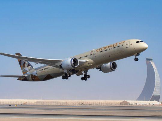 An Etihad Airways Boeing 787 Dreamliner takes off from Abu Dhabi International Airport