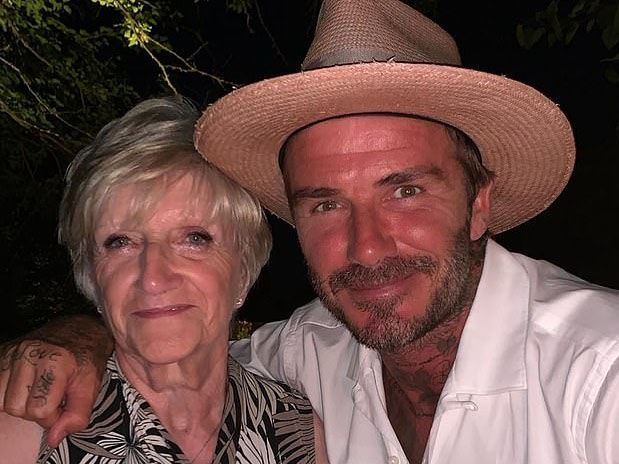 David Beckham and mum.