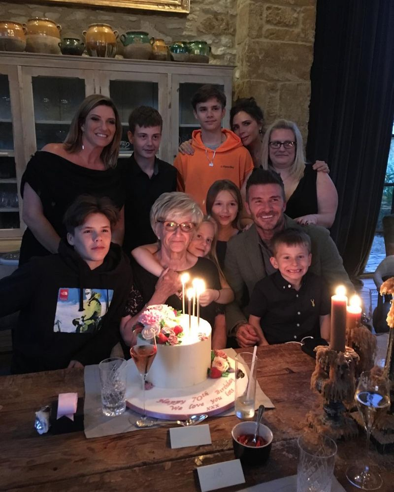 David Beckham's family celebrates his mum Sandra's 70th birthday.