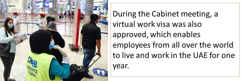 During the Cabinet meeting, a virtual work visa was also approved, which enables employees from all over the world to live and work in the UAE for one year.