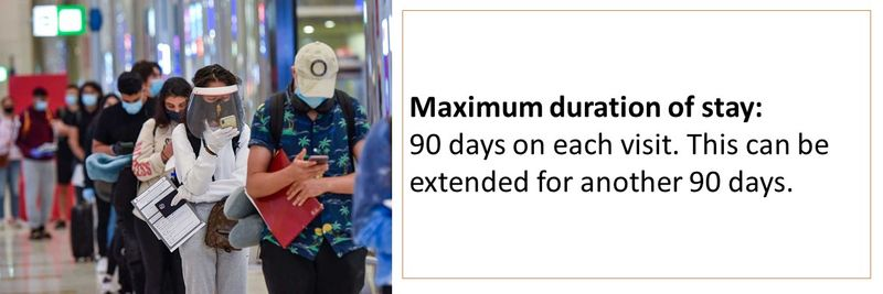Maximum duration of stay: 90 days on each visit. This can be extended for another 90 days.