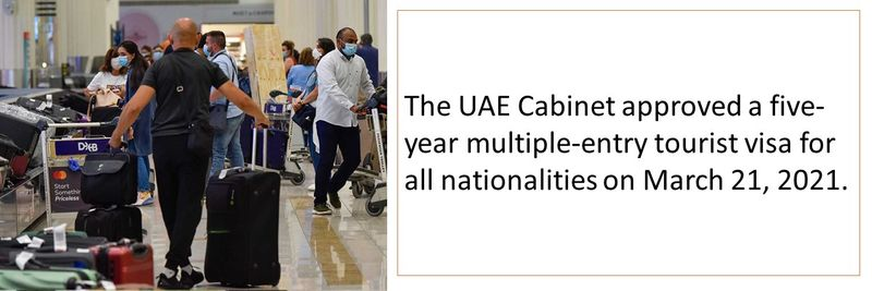 The UAE Cabinet approved a five-year multiple-entry tourist visa for all nationalities on March 21, 2021.
