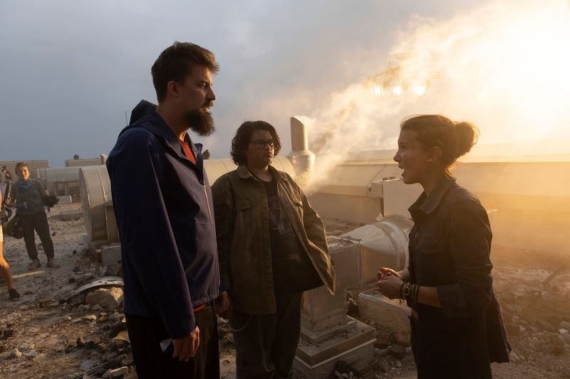 Adam Wingard with Millie Bobby Brown from Godzilla vs. Kong