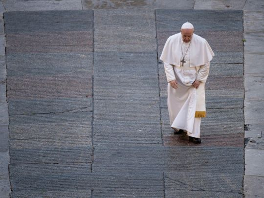 Pope Francis in a still from movie Francesco