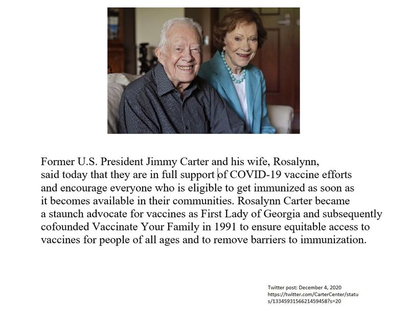 The Carters' statement of getting a COVID-9 vaccine.