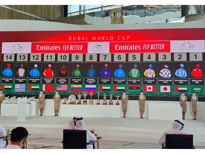 The draw was made for the 2021 edition of the Dubai World Cup night on Wednesday, with post positions for all nine races decided for the 25th anniversary running of the event.