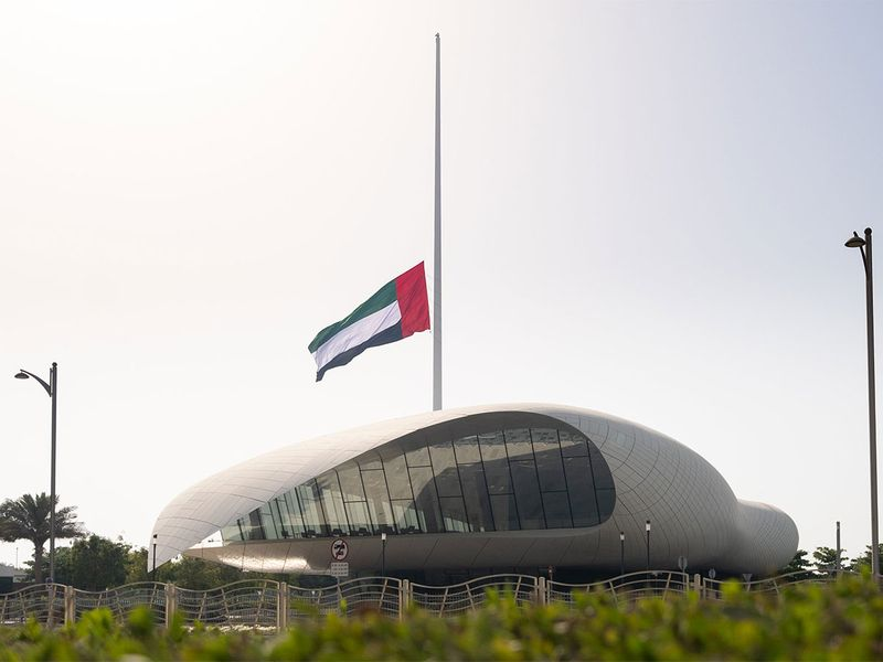 UAE flag at Etihad Museum flying at half-mast as Dubai observes ten-day mourning following the death of His Highness Sheikh Hamdan bin Rashid Al Maktoum.